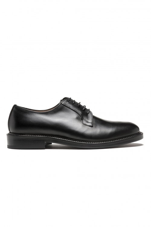 SBU 03200_2021SS Black lace-up plain calfskin derbies with leather sole 01