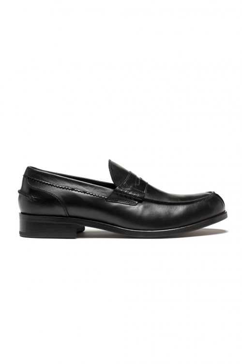 SBU 03203_2021SS Black plain calfskin penny loafers with leather sole 01