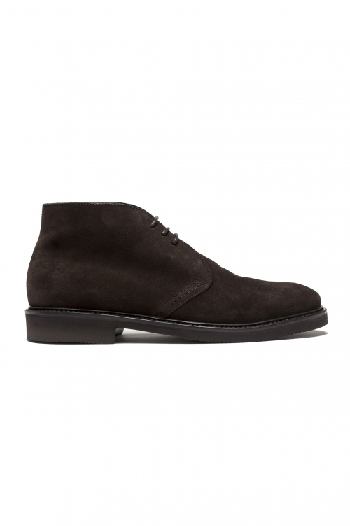 SBU 03204_2021SS Brown lace-up plain suede chukka boots with Vibram rubber sole 01