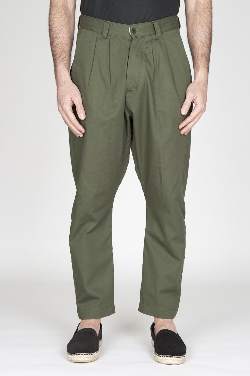 Pantaloni Da Lavoro 2 Pinces Giapponesi In Cotone Verde
