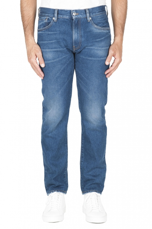 SBU 03205_2021SS Blue jeans stone washed in cotone tinto indaco 01