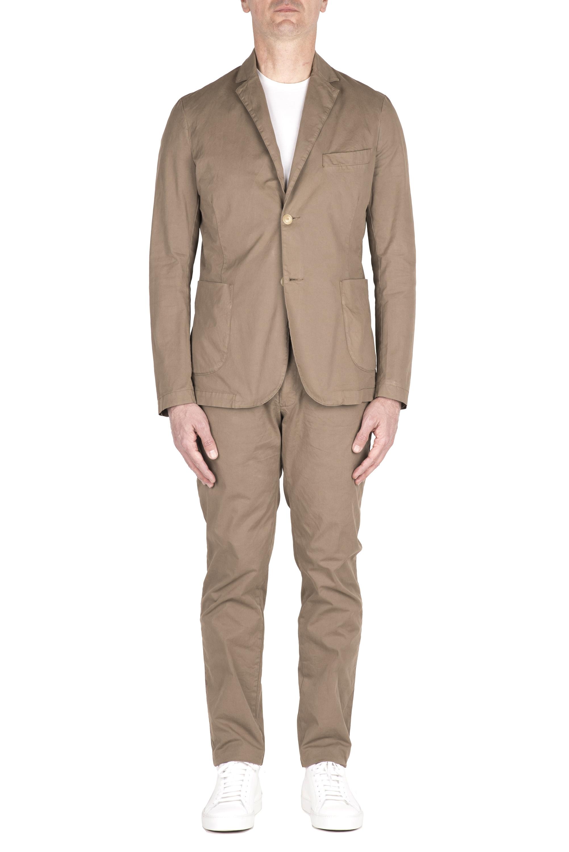 SBU 03217_2021SS Khaki cotton sport suit blazer and trouser 01