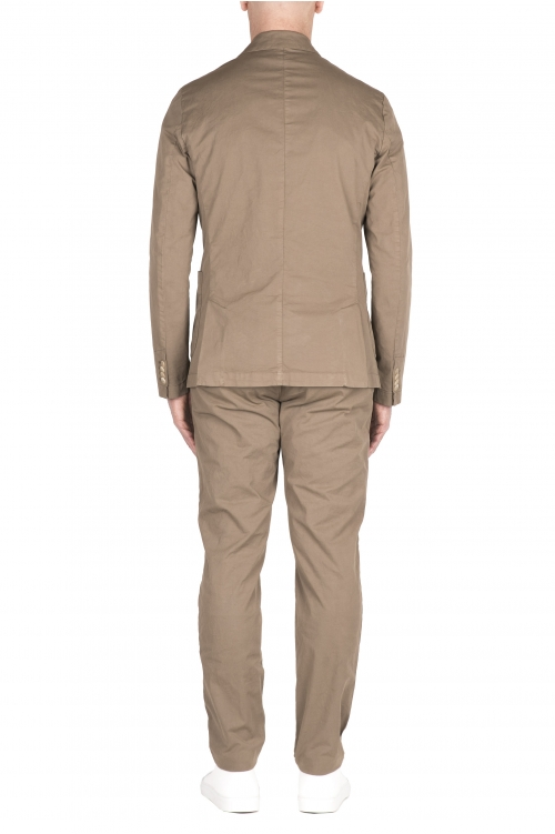 SBU 03217_2021SS Blazer y pantalón de traje casual de algodón caqui 01