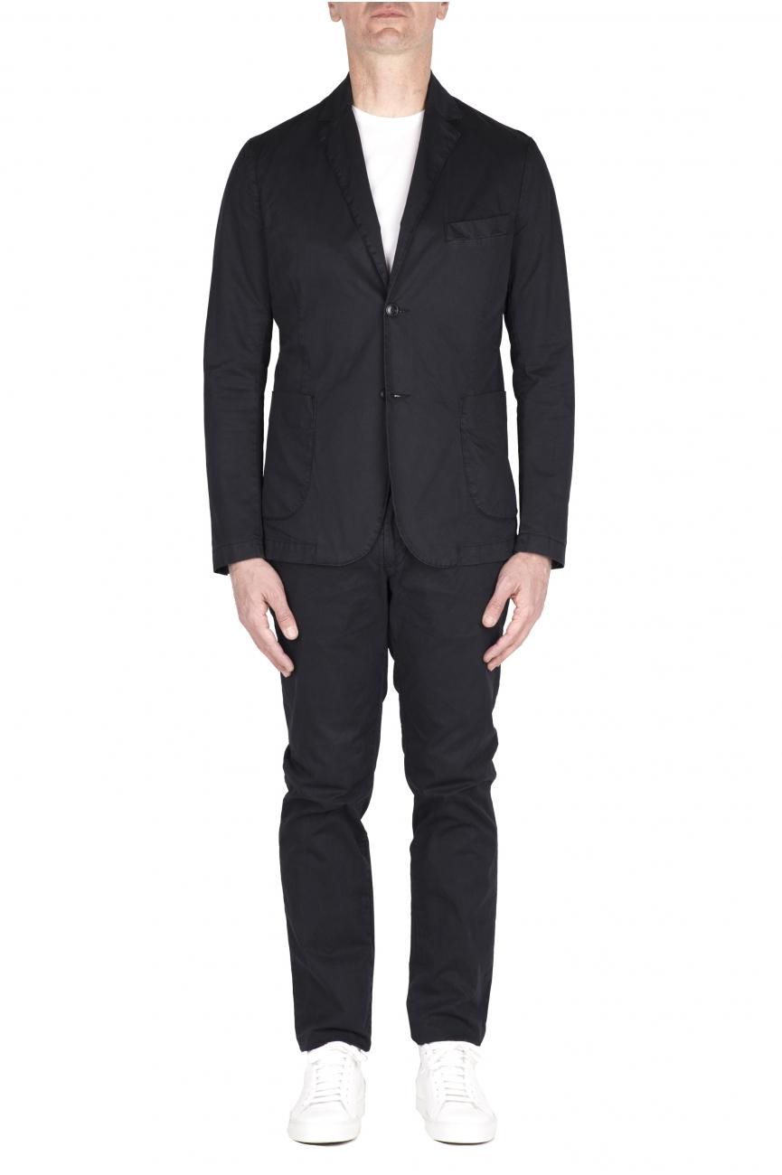 SBU 03218_2021SS Blue cotton sport suit blazer and trouser 01