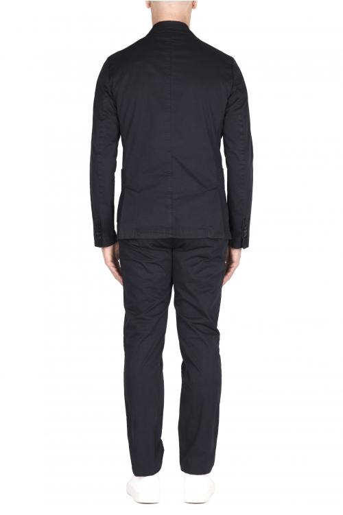 SBU 03218_2021SS Blazer y pantalón de traje casual de algodón azul 01