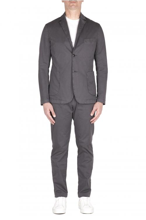 SBU 03219_2021SS Blazer et pantalon de costume décontracté en coton gris 01