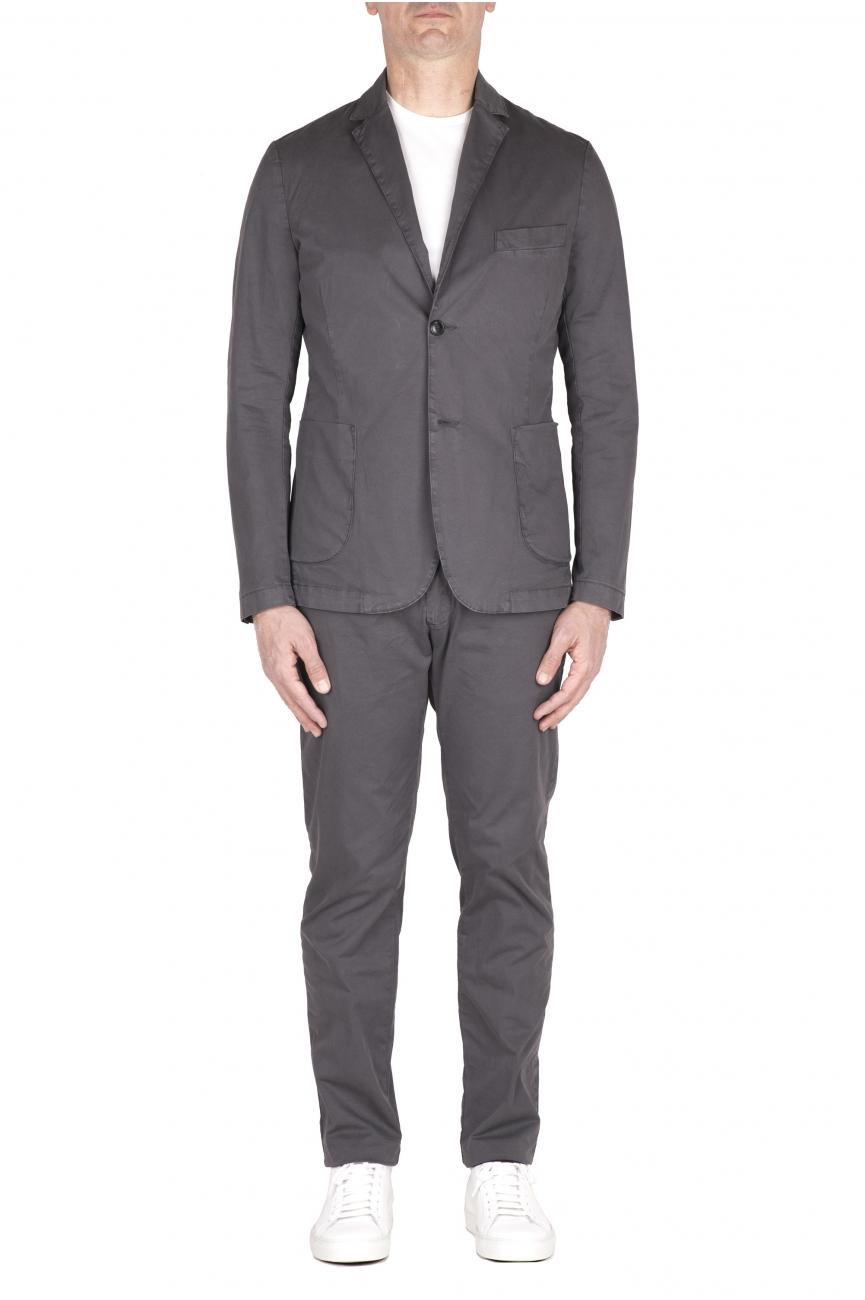 SBU 03219_2021SS Grey cotton sport suit blazer and trouser 01