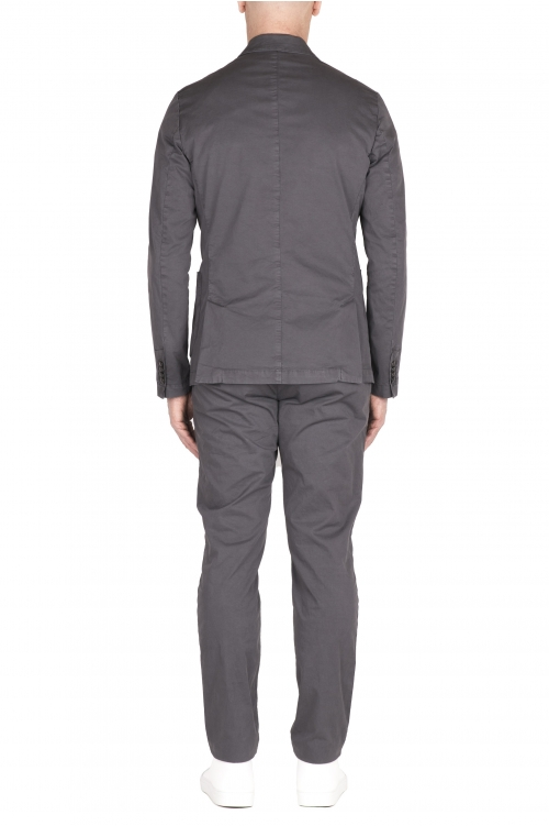 SBU 03219_2021SS Blazer y pantalón de traje casual de algodón gris 01