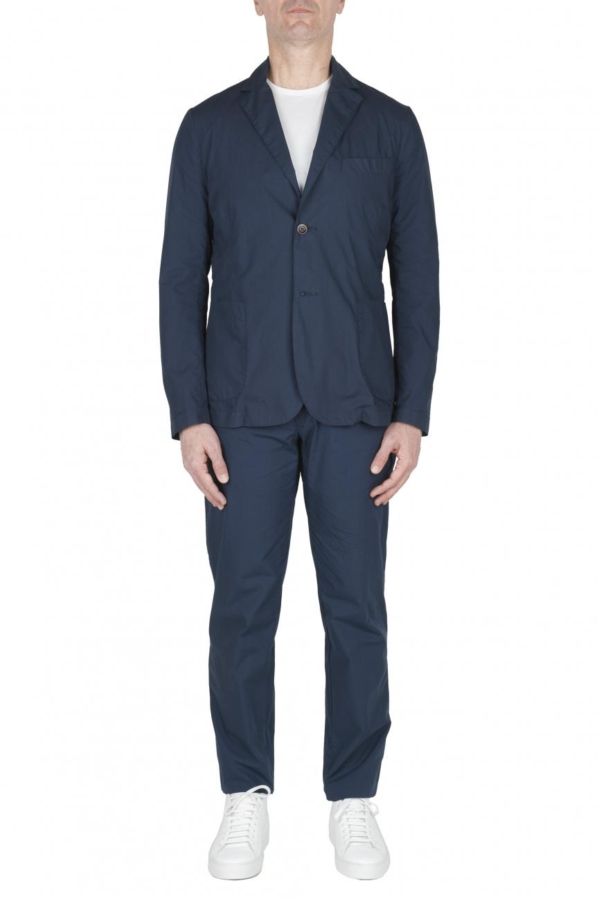 SBU 03220_2021SS Blue cotton sport suit blazer and trouser 01