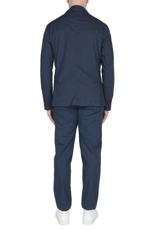 SBU 03220_2021SS Chaqueta y pantalón de traje deportivo de algodón azul 01