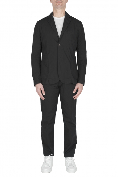 SBU 03222_2021SS Blazer et pantalon de sport en coton noir 01