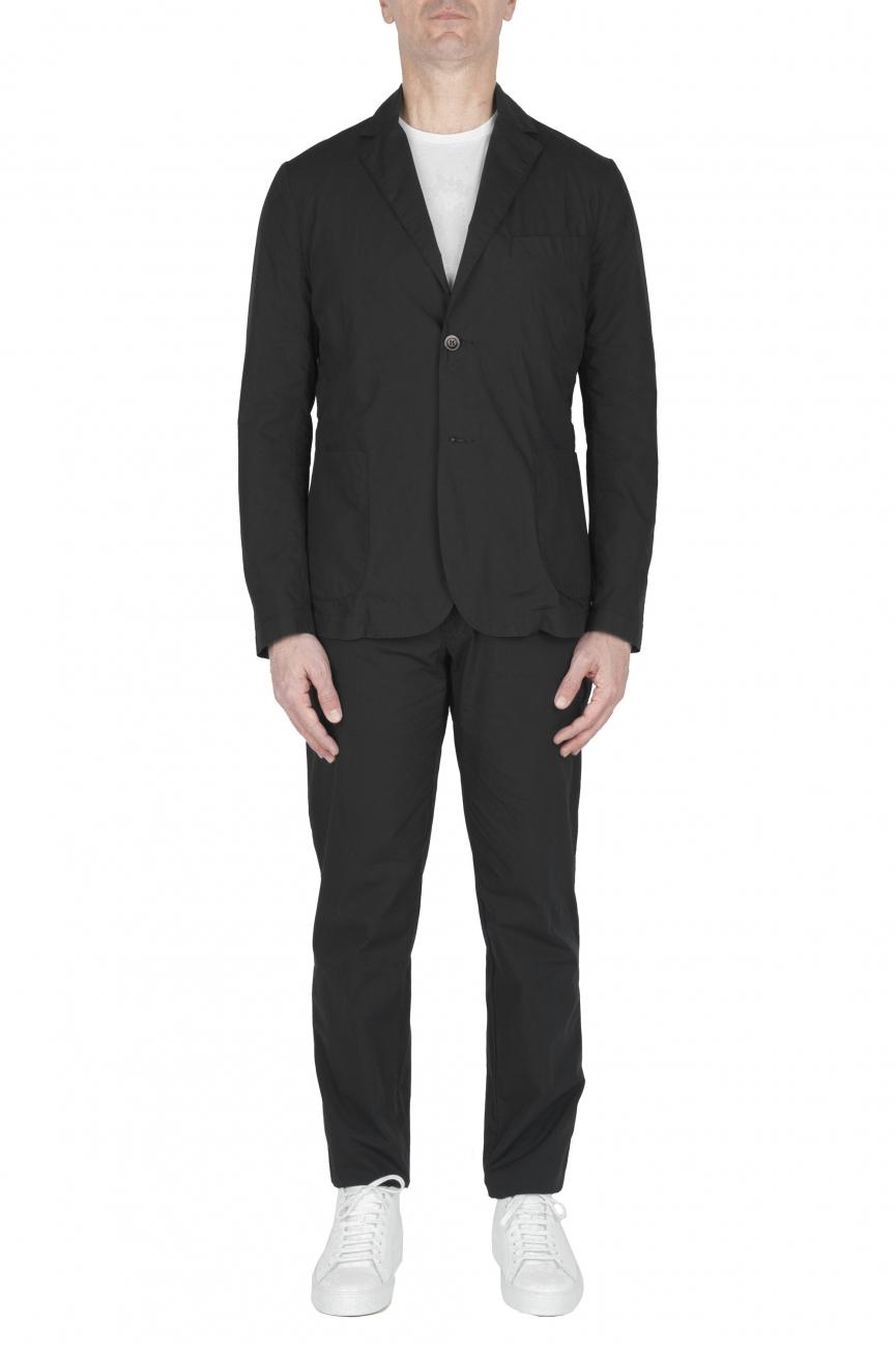 SBU 03222_2021SS Black cotton sport suit blazer and trouser 01