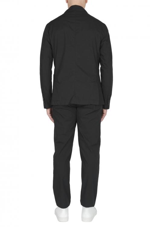 SBU 03222_2021SS Chaqueta y pantalón de traje deportivo de algodón negro 01
