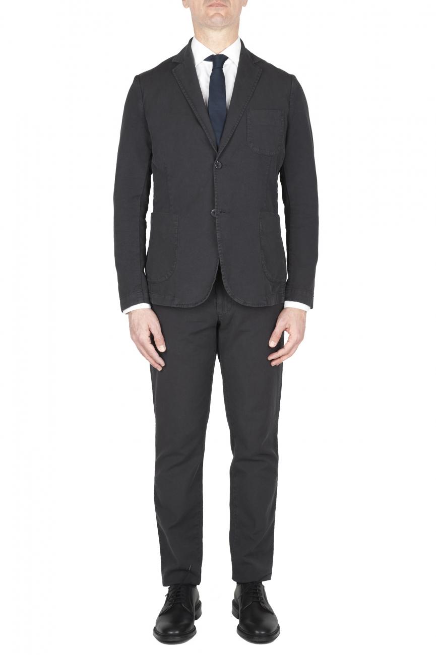 SBU 03223_2021SS Anthracite cotton sport suit blazer and trouser 01