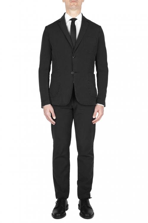 SBU 03226_2021SS Pantalon et blazer de costume de sport en coton noir 01