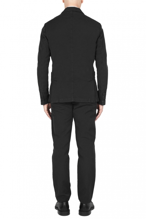 SBU 03226_2021SS Black cotton sport suit blazer and trouser 01