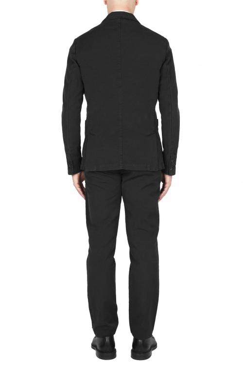 SBU 03226_2021SS Blazer y pantalón de traje deportivo de algodón negro 01