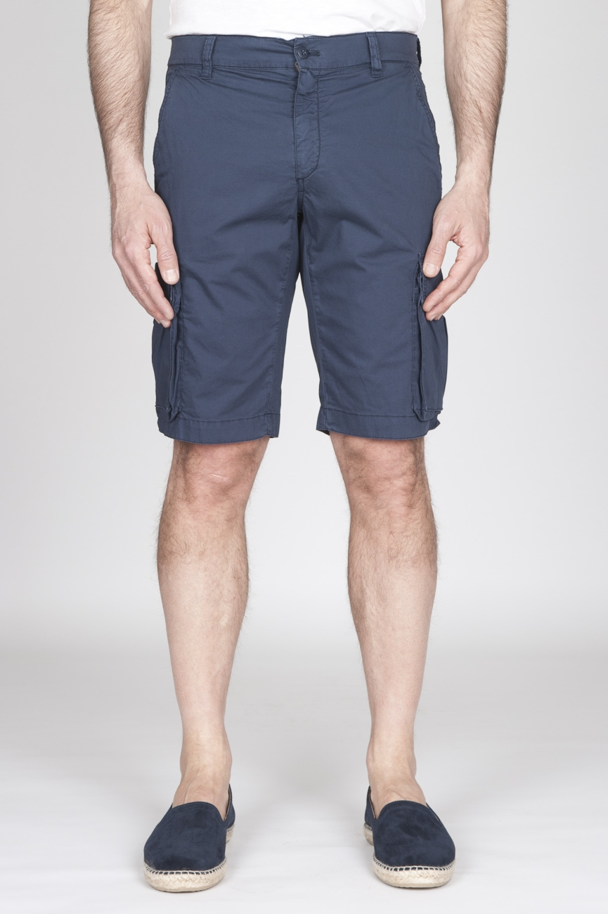 SBU - Strategic Business Unit - Classic Regular Fit Cargo Shorts In Blue Stretch Cotton