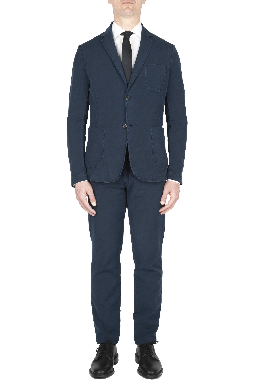 SBU 03228_2021SS Navy blue cotton sport suit blazer and trouser 01