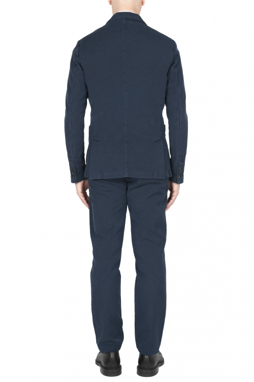 SBU 03228_2021SS Pantalon et blazer de costume de sport en coton bleu marine 01