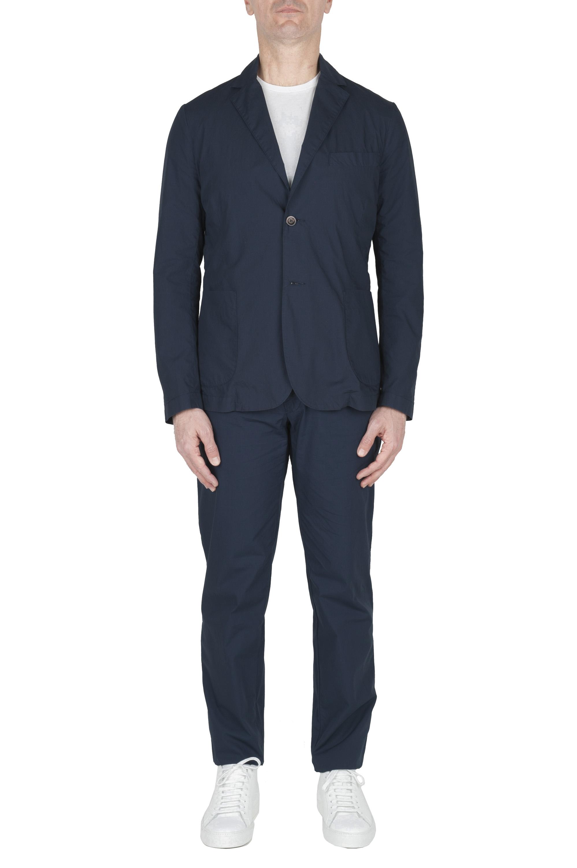 SBU 03229_2021SS Navy blue cotton sport suit blazer and trouser 01