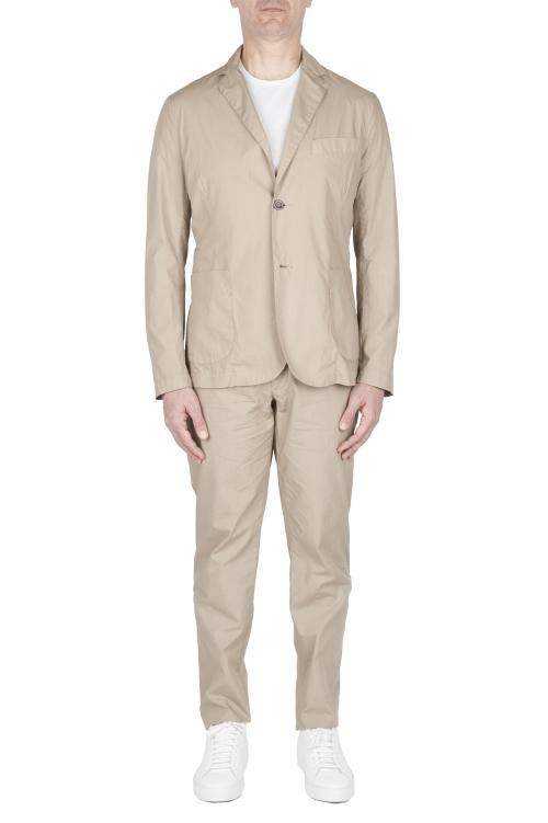 SBU 03230_2021SS Abito in cotone completo di giacca e pantalone beige 01
