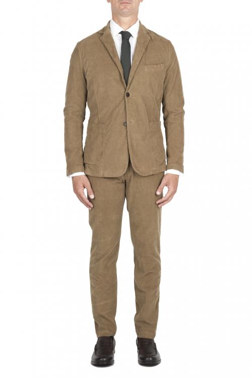 SBU 03232_2021SS Abito in velluto elasticizzato a coste beige completo di giacca e pantalone 01