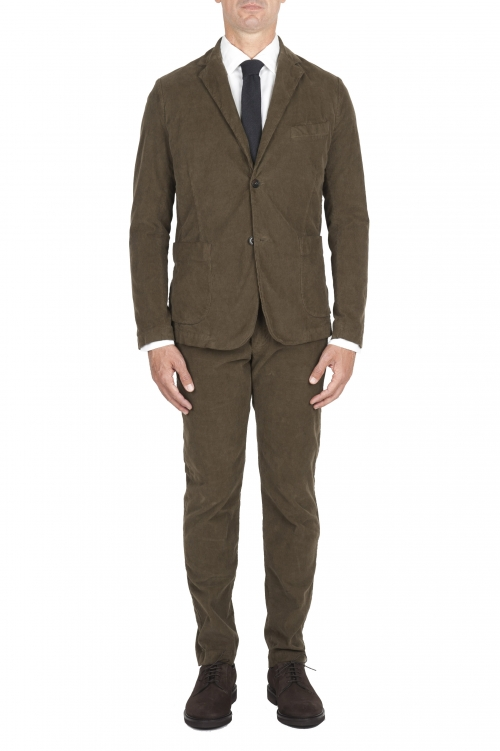 SBU 03234_2021SS Blazer y pantalón de traje deportivo de pana elástico verde 01
