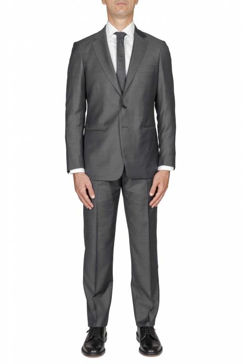 SBU 03236_2021SS Blazer et pantalon de costume gris en fresco de laine pour hommes 01