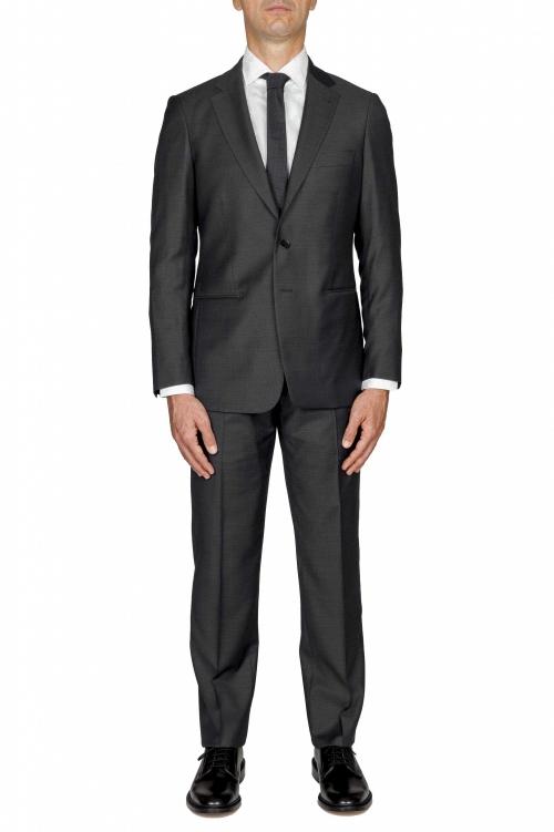 SBU 03237_2021SS Blazer et pantalon de costume noir en fresco de laine pour hommes 01