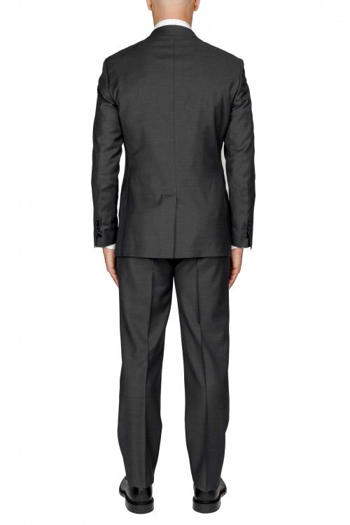 SBU 03237_2021SS Abito nero in fresco lana completo giacca e pantalone 01
