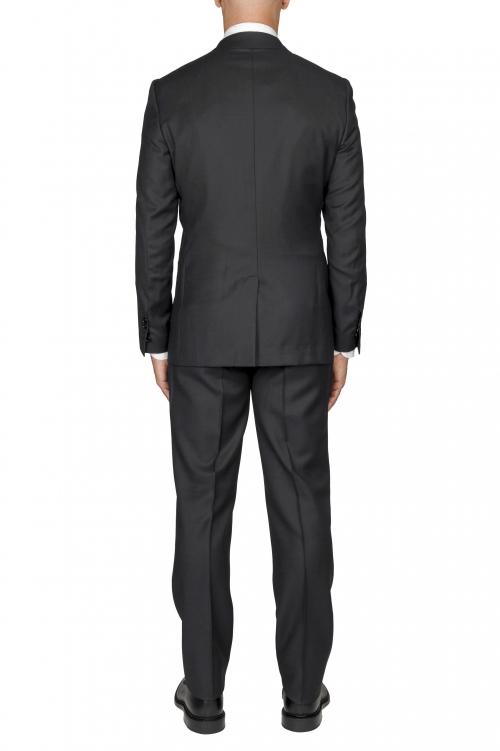 SBU 03240_2021SS Blazer et pantalon de costume gris foncé en fresco de laine oeil de perdrix pour hommes 01
