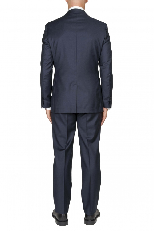SBU 03241_2021SS Blazer et pantalon de costume bleu en fresco de laine pour hommes 01