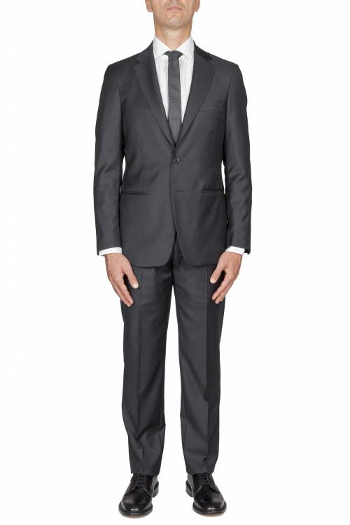 SBU 03242_2021SS Blazer et pantalon de costume gris en fresco de laine pour hommes 01