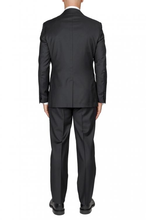 SBU 03243_2021SS Blazer et pantalon de costume noir en fresco de laine pour hommes 01