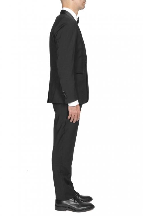SBU 03245_2021SS Abito smoking nero in lana giacca e pantalone 01
