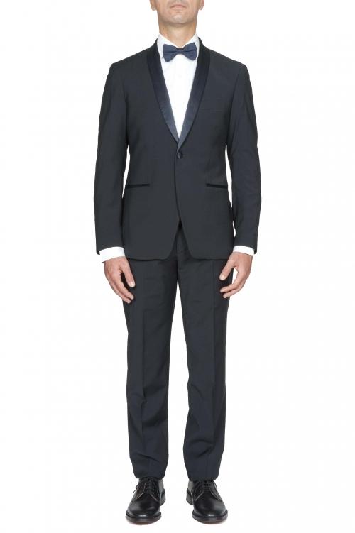 SBU 03246_2021SS Blouson et pantalon de smoking en laine bleue marine 01
