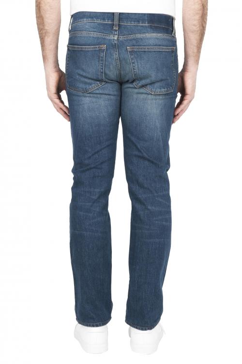 SBU 03209_2021SS Teint pur indigo délavé à la pierre coton stretch jeans bleu 01