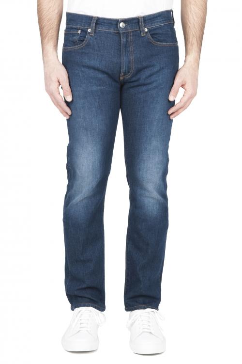 SBU 03211_2021SS Jeans en coton stretch délavé usé teinté indigo 01