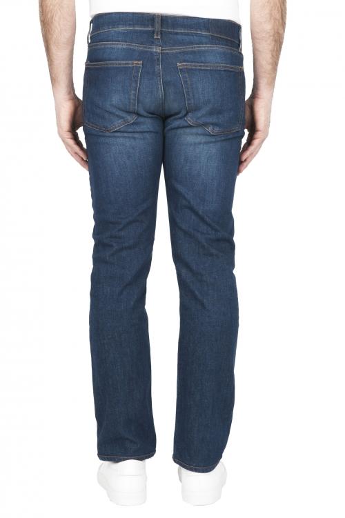 SBU 03211_2021SS Pantalones vaqueros de algodón elástico lavados usados añil puro 01