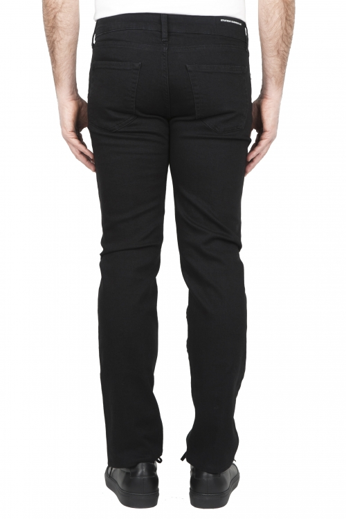 SBU 03213_2021SS Vaqueros de algodón elástico negro teñido con tinta natural 01