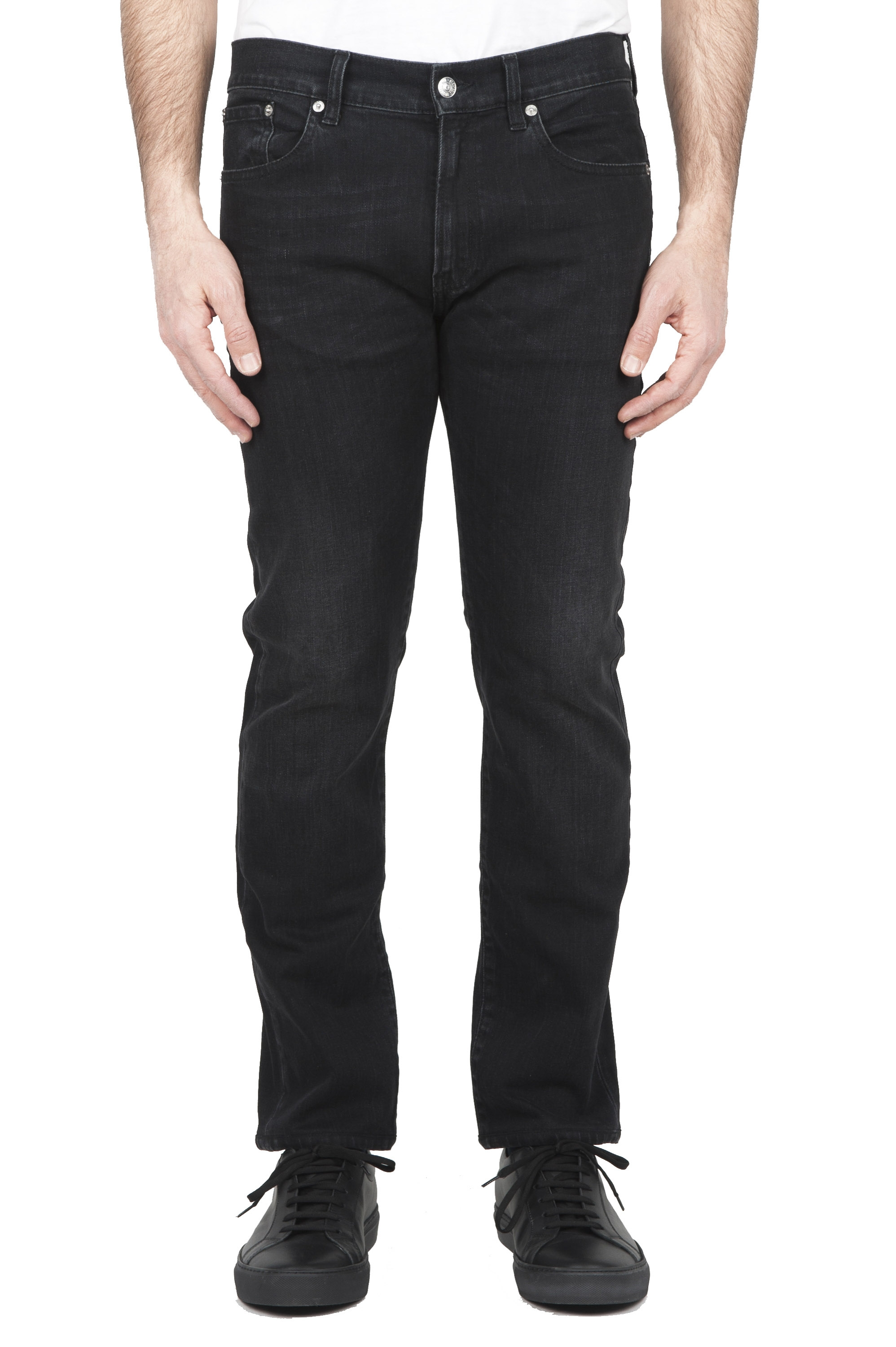 SBU 03210_2021SS Natural ink dyed stone washed black stretch cotton jeans 01
