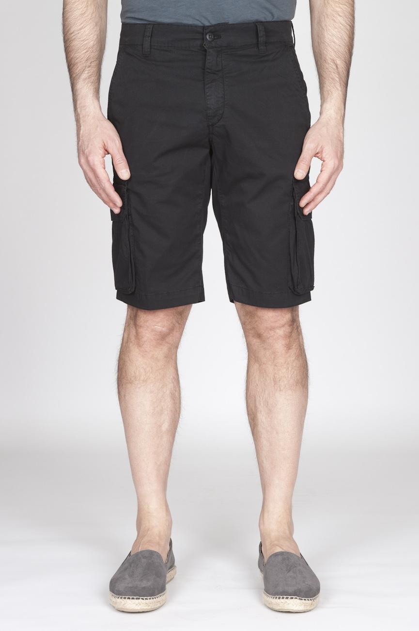 Bermuda Cargo Shorts In Cotone Elasticizzato Nero