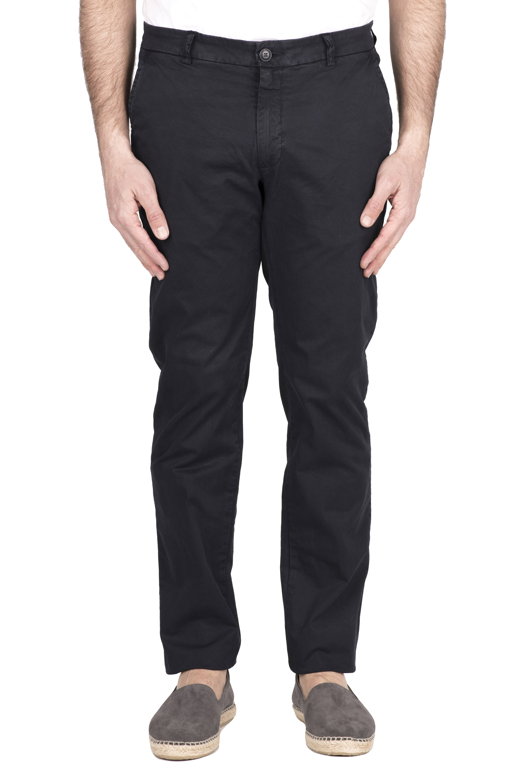 SBU 03249_2021SS Classic chino pants in blue stretch cotton 01