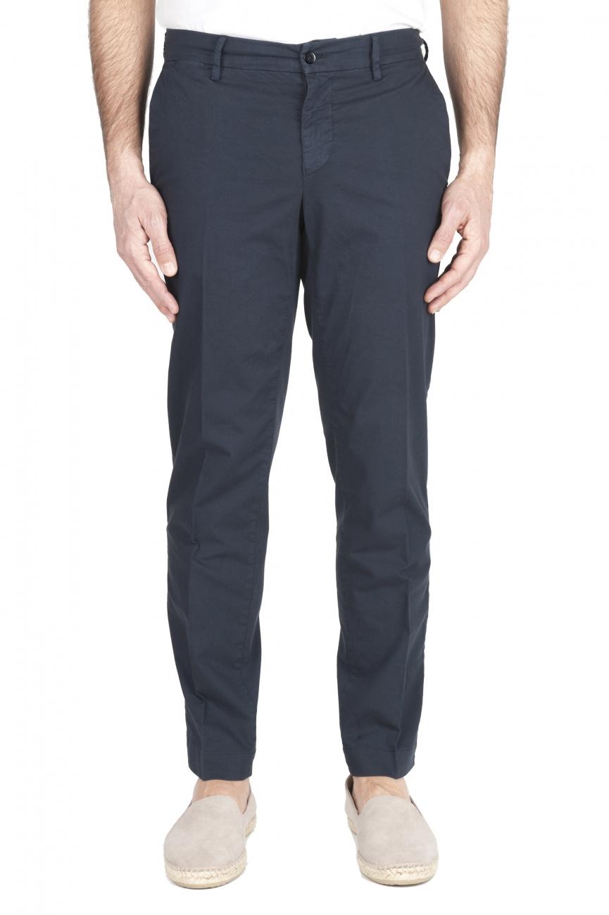 SBU 03252_2021SS Classic chino pants in navy blue stretch cotton 01