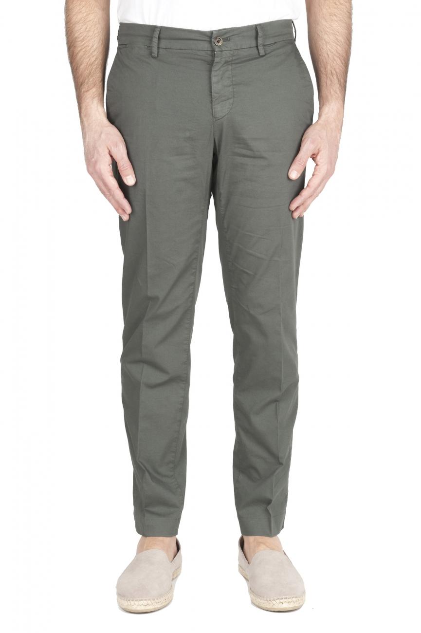 SBU 03253_2021SS Classic chino pants in green stretch cotton 01