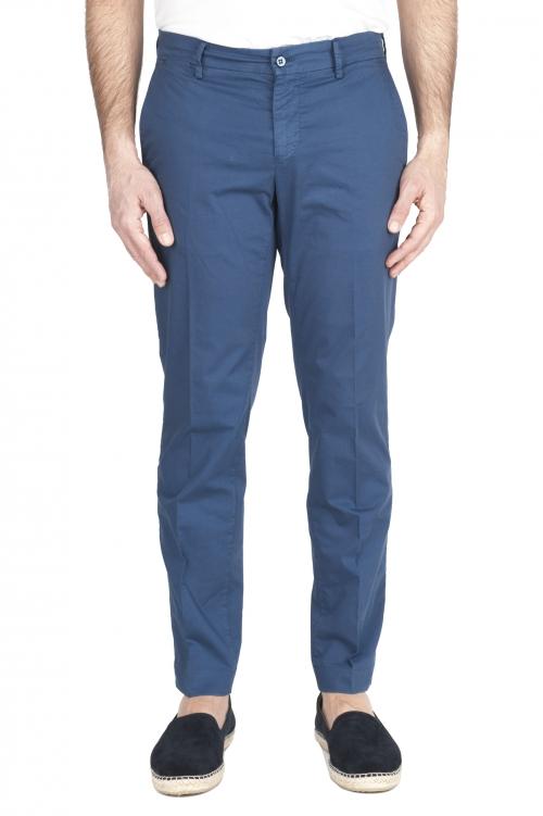 SBU 03255_2021SS Pantalones chinos clásicos en algodón elástico azul 01