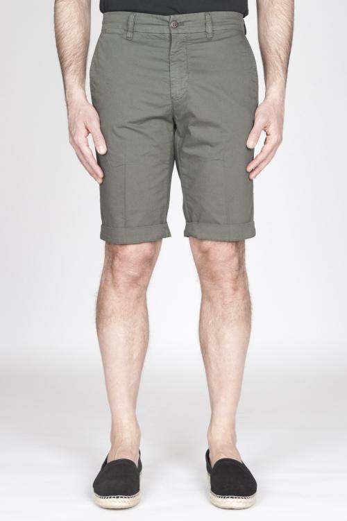 Bermuda Shorts In Cotone Elasticizzato Verde Militare