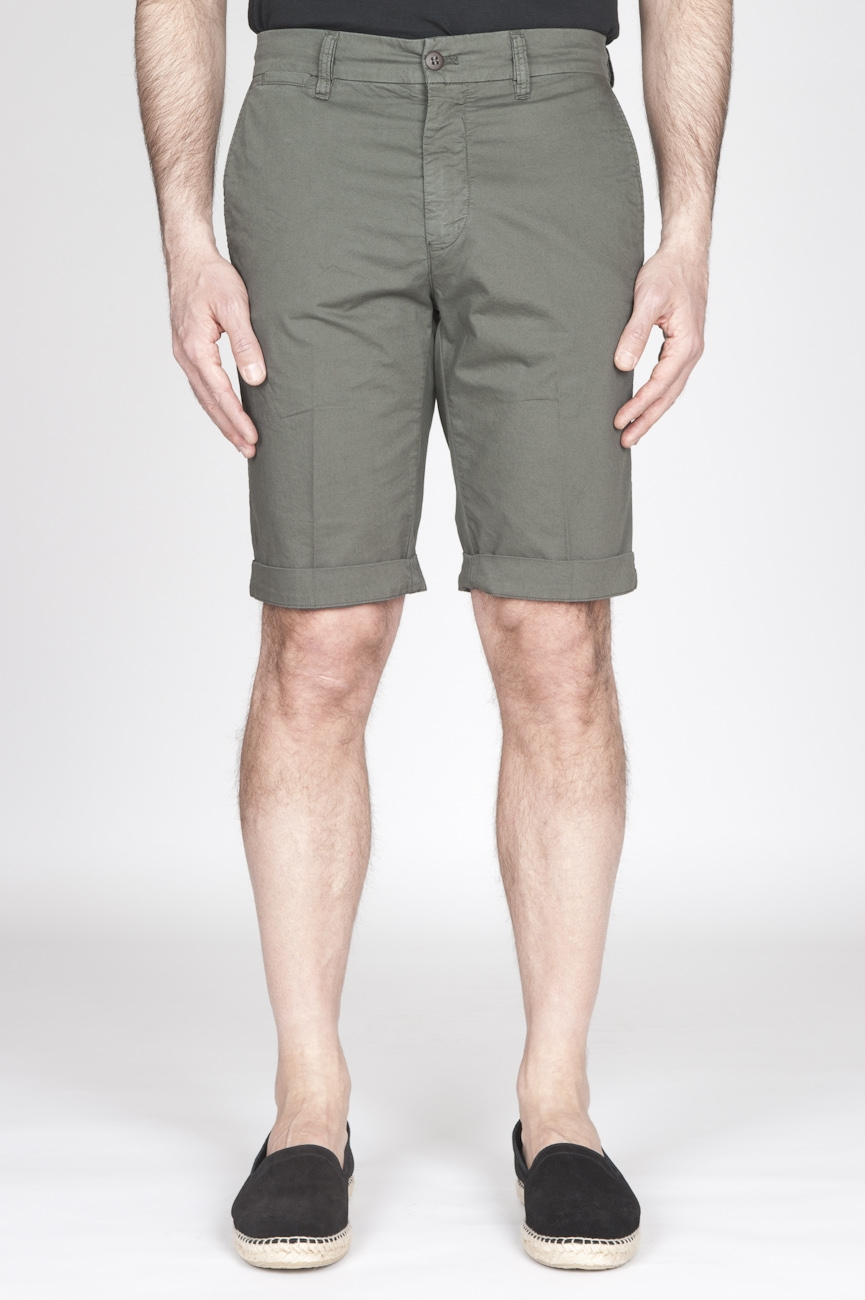 SBU - Strategic Business Unit - Classic Short Pants In Military Green Stretch Cotton