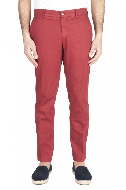 SBU 03257_2021SS Pantalón chino clásico en algodón elástico rojo 01